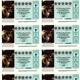 Capilla de billete de Lotería Nacional para el sorteo de 14 de agosto de 1993