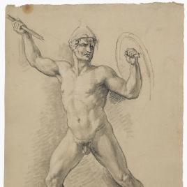 Estudio de desnudo masculino de frente con escudo, casco y lanza