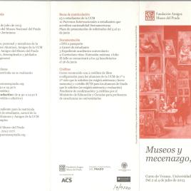 Museos y mecenazgo, hoy : cursos de verano : Universidad Complutense / Amigos del Museo del Prado.
