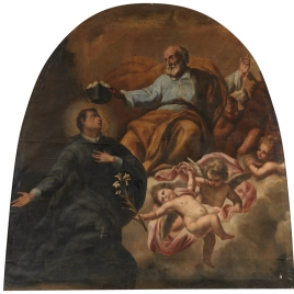 Escena religiosa. San Pedro poniendo el birrete a un santo