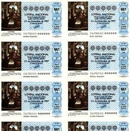 Capilla de billete de Lotería Nacional para el sorteo de 22 de diciembre de 1987