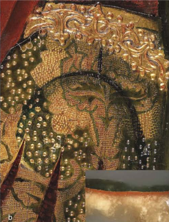 <p><strong>Figure 6. (b)</strong> Martín Bernat, <em>Ferdinand I of Castile welcoming Saint Dominic</em>: detail of the gilding with an inset showing a cross-section.</p>