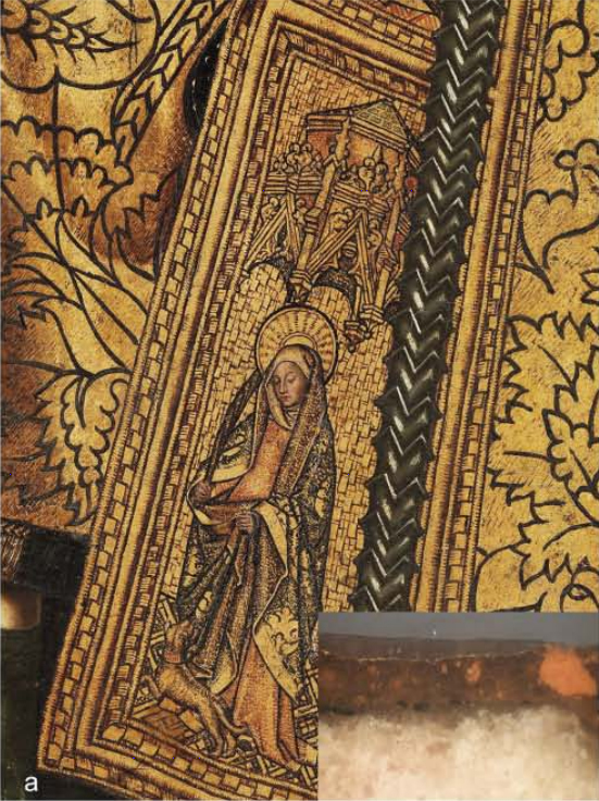 <p><strong>Figure 6. (a)</strong> Bartolomé Bermejo, <em>Saint Dominic of Silos enthroned as a Bishop</em>: detail of the gilding with an inset showing a cross-section.</p>