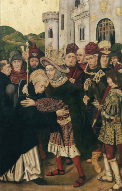 <p><strong>Figure 4</strong>. Martín Bernat, <em>Ferdinand I of Castile welcoming Saint Dominic</em> (1478–1479). Oil on panel, 145 × 93.5 cm. Prado Museum (P-6709).</p>