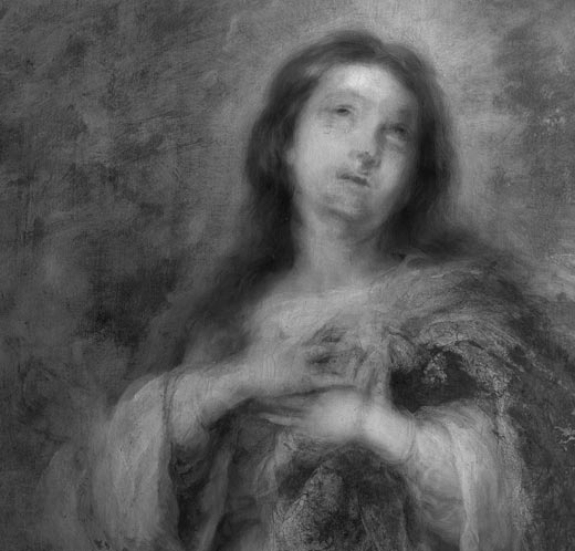 <p><em>Fig.8.</em> Infra-red reflectography shows that the positions of the Virgin's face and hands were altered during the execution of the work</p>