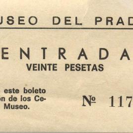 Billete de entrada al Museo del Prado de 1969-1973
