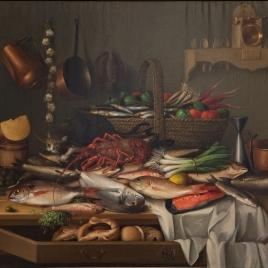 Bodegón de cocina con peces y hortalizas