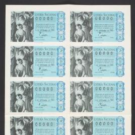 Capilla de billete de Lotería Nacional para el sorteo de 5 de septiembre de 1960