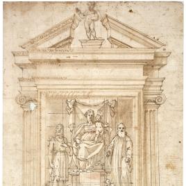 Diseño para un altar, con la Virgen y el Niño entronizados entre San Juan Bautista y San Benito