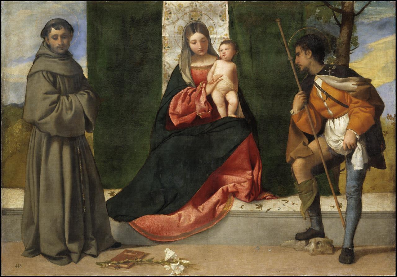Virgen con el Niño entre san Antonio de Padua y san Roque, La [Tiziano]